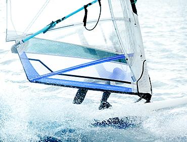 Windsurfer at West Kirby Marine Lake, Wirral, Cheshire, England, United Kingdom, Europe