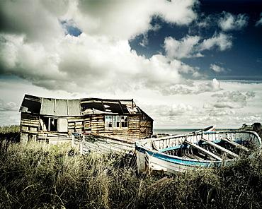 Old fishing boat and hut, Northumberland, England, United Kingdom, Europe