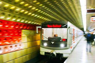 Subway train, Prague, Czech Republic, Europe