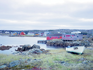 Fishing huts and village, Fogo Island, Newfoundland, Canada, North America