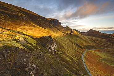 Sunset over the Trotternish Range from the Quiraing on the Isle of Skye, Inner Hebrides, Scotland, United Kingdom, Europe