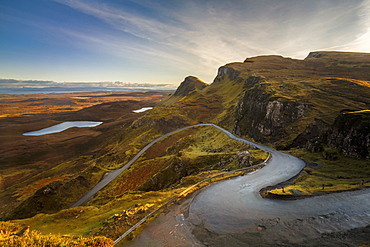 The Quiraing Pass in the Trotternish Range on the Isle of Skye, Inner Hebrides, Scotland, United Kingdom, Europe
