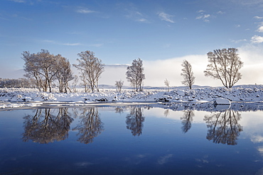 A wintery scene on Rannoch Moor, Highlands, Scotland, United Kingdom, Europe