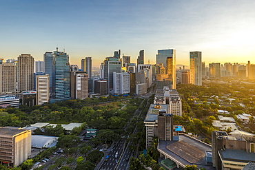 View of the Makati district in Manila at sunrise, Philippines, Southeast Asia, Asia