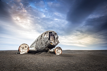 Wreckage of a United States Navy Douglas Super DC-3 that crashed on the black beach at Solheimasandur, South Region, Iceland, Polar Regions