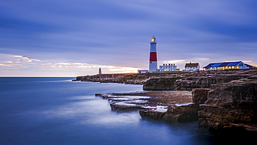 Portland Bill Lighthouse at sunset, Portland, Jurassic Coast UNESCO World Heritage Site, Dorset, England, United Kingdom, Europe