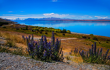 Lake Tekapo looking across to Ben Ohau, South Island, New Zealand, Pacific