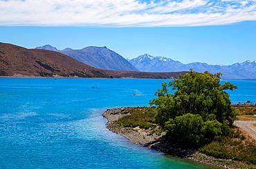 View of Lake Tekapo from New Tekapo Footbridge, South Canterbury, South Island, New Zealand, Pacific