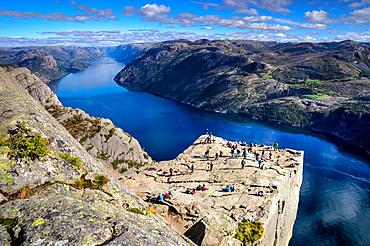 Pulpit Rock, Lysefjord view, Stavanger, Norway, Scandinavia, Europe