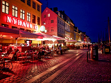 Evening at Nyhavn, Copenhagen, Denmark, Scandinavia, Europe