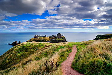 Dunnottar Castle outside of Stonehaven, Aberdeenshire, Scotland, United Kingdom, Europe