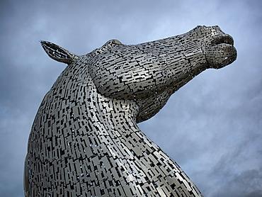 The Kelpies, a steel horse sculpture in Falkirk, Scotland, United Kingdom, Europe