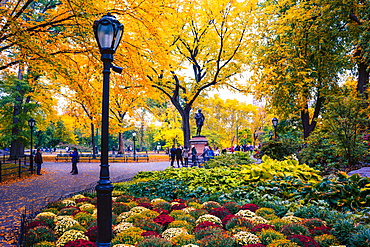 Fall scene, Central Park, New York City, United States of America, North America