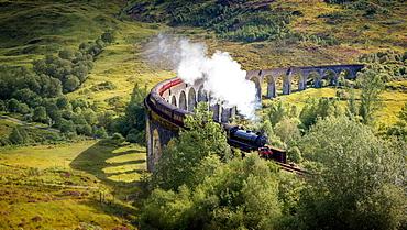 Harry Potter Train, Jacobite Express, Glenfinnan Viaduct, Inverness-shire, Highlands, Scotland, United Kingdom, Europe