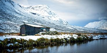 Winter shack, Glencoe, Highland Region, Scotland, United Kingdom, Europe