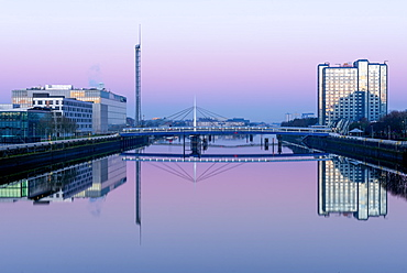 Pacific Quay at dawn, Glasgow, Scotland, United Kingdom, Europe