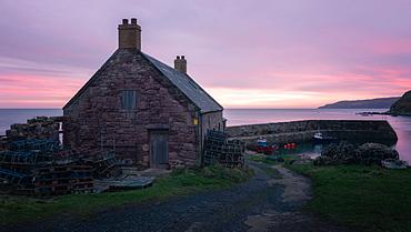 Cove Harbour at Sunrise, Scottish Borders, Scotland, United Kingdom, Europe