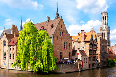 Medieval City Centre, UNESCO World Heritage Site, framed by Rozenhoedkaai canal, Bruges, West Flanders, Belgium, Europe