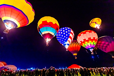 Dawn patrol at the Fiesta Hot Air Balloon Festival, Albuquerque, New Mexico, United States of America, North America