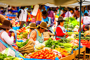 Quechua woman in the market of Pisac, Sacred Valley, Peru, South America