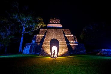 Night portrait of Pyramid at Tikal, UNESCO World Heritage Site, Guatemala, Central America