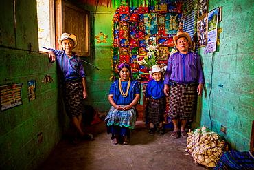 Mayan family portrait, Lake Atitlan, Guatemala, Central America