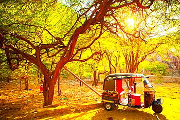 Tuk tuk parked in Jaipur, Rajasthan, India,Asia