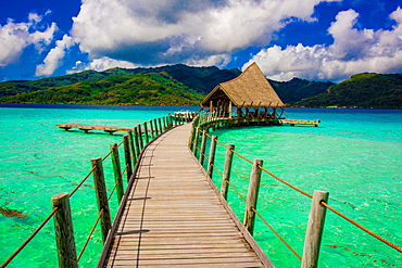 Overwater bungalow pier, Le Taha'a Resort, Tahiti, French Polynesia, South Pacific, Pacific
