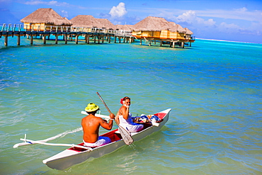Canoe room service for the overwater bungalows, Le Taha'a Resort, Tahiti, French Polynesia, South Pacific, Pacific