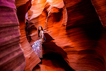 Woman posing in Rattlesnake Canyon, Arizona, United States of America, North America