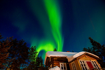 Aurora Borealis (the Northern Lights) over Kakslauttanen Igloo West Village, Saariselka, Finland, Scandinavia, Europe