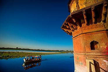 Boat at Holi Festival, Vrindavan,Uttar Pradesh, India, Asia