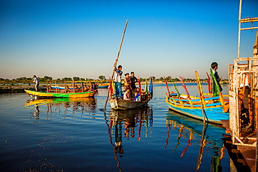 Indian gondoliers, Flower Holi Festival, Vrindavan, Uttar Pradesh, India, Asia