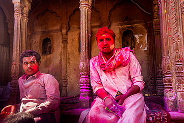 Man covered in red pigment, Holi Festival, Vrindavan, Uttar Pradesh, India, Asia