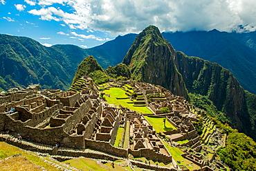View of Huayna Picchu and Machu Picchu Ruins, UNESCO World Heritage Site, Peru, South America