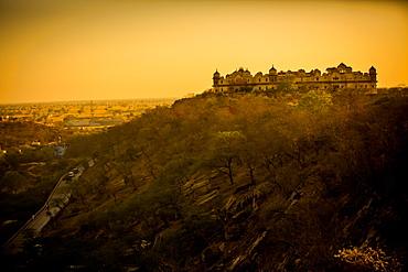 Hilltop ruins at sunset, Mathura, Uttar Pradesh, India, Asia