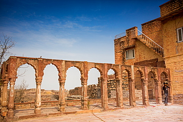Stone archway in Mehrangarh Fort in Jodhpur, the Blue City, Rajasthan, India, Asia