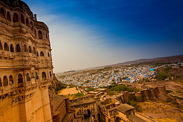 The view from the main courtyard of Mehrangarh Fort towering over the blue rooftops in Jodhpur, the Blue City, Rajasthan, India, Asia