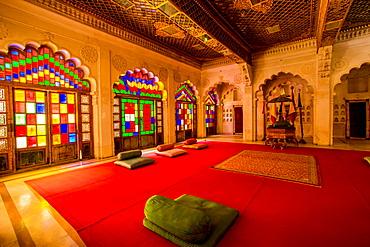 The Maharaja's sitting room in Mehrangarh Fort in Jodhpur, the Blue City, Rajasthan, India, Asia