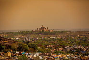 The view of Umaid Bhawan Palace from Mehrangarh Fort in Jodhpur, the Blue City, Rajasthan, India, Asia