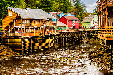 View of Creek Street in Business District in Ketchikan, Alaska, United States of America, North America
