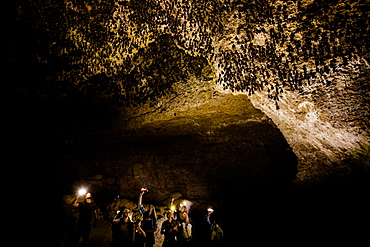 Cavers shining lamps on bats in Pokhara Bat Caves, Pokhara, Nepal, Asia