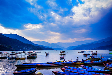 Boats docked on a lake at sunset in Pokhara, Nepal, Asia