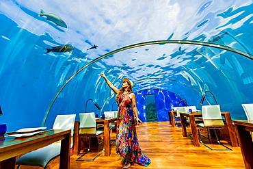 Views from Ithaa, the undersea restaurant at Conrad Maldives, Maldives, Indian Ocean, Asia