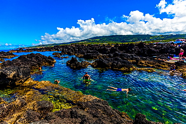 Views of natural volcanic pools called Biscoitos, Terceira Island, Azores, Portugal, Atlantic, Europe
