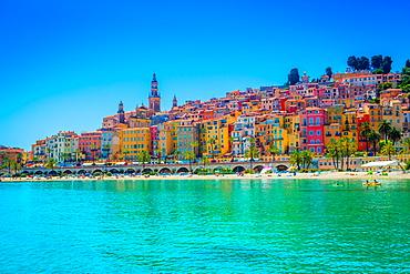Skyline of Menton, Alpes-Maritimes, Cote d'Azur, Provence, French Riviera, France, Mediterranean, Europe
