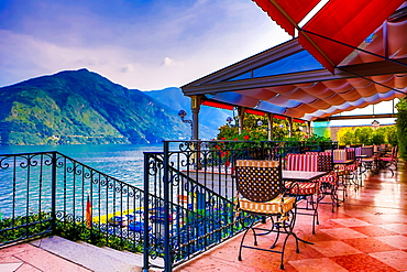 Patio at Grand Hotel Tremezzo, Lake Como, Lombardy, Italy, Europe