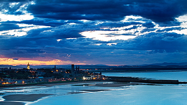 Looking across St. Andrews Bay and beyond to Perthshire at twilight, Fife, Scotland, United Kingdom, Europe