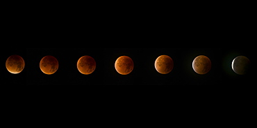 Lunar eclipse, a rare supermoon, blood moon composite phase in the night sky, United Kingdom, Europe