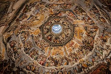 The interior of Brunelleschi's dome, the Duomo, Florence, UNESCO World Heritage Site, Tuscany, Italy, Europe